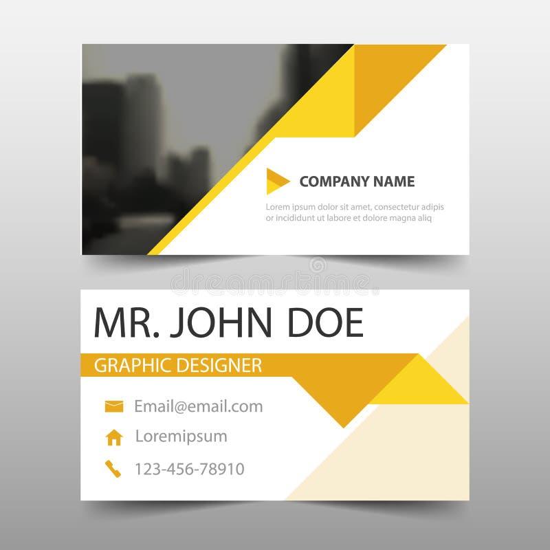 Желтая визитная карточка корпоративного бизнеса треугольника, шаблон карточки имени, горизонтальный простой чистый шаблон дизайна иллюстрация вектора