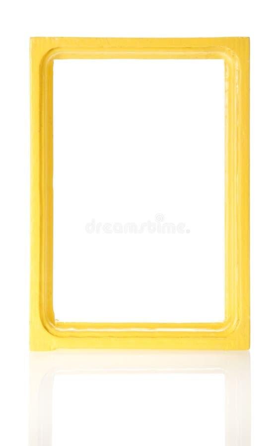Желтая деревянная рамка для фото стоковая фотография rf