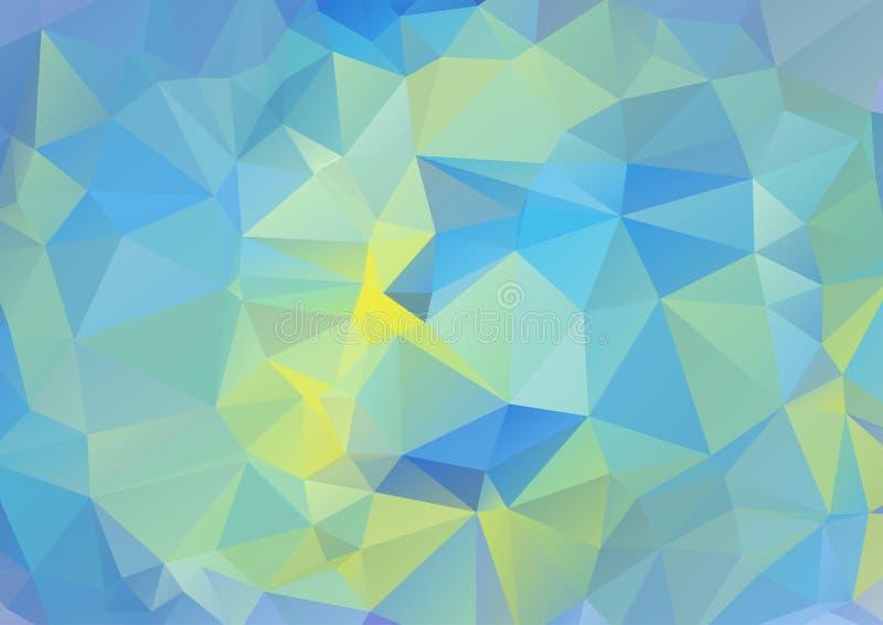 Желтая и голубая триангулярная картина Полигональная геометрическая предпосылка Абстрактная картина с формами треугольника иллюстрация вектора