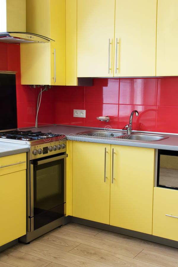 Желтая кухня стоковое фото rf