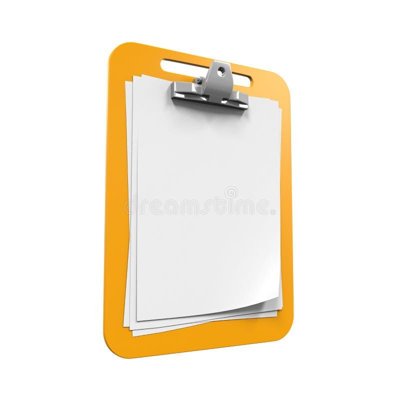 Желтая доска сзажимом для бумаги бесплатная иллюстрация