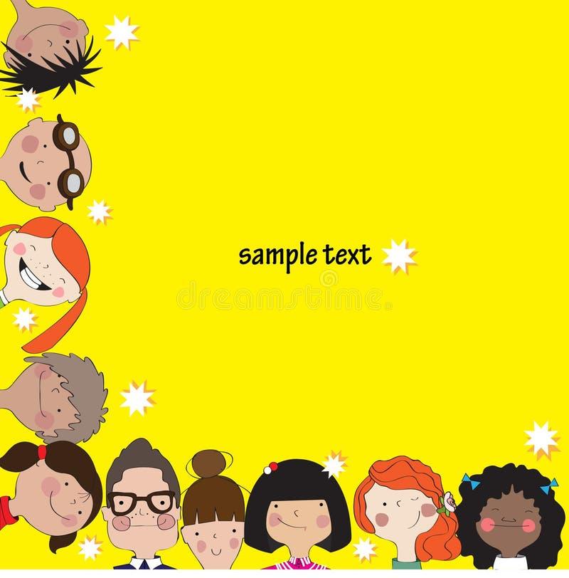 Желтая предпосылка с детьми потехи иллюстрация вектора