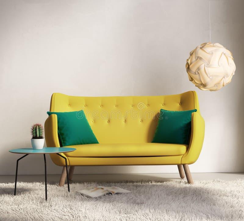 Желтая софа в свежей внутренней живущей комнате стоковое изображение