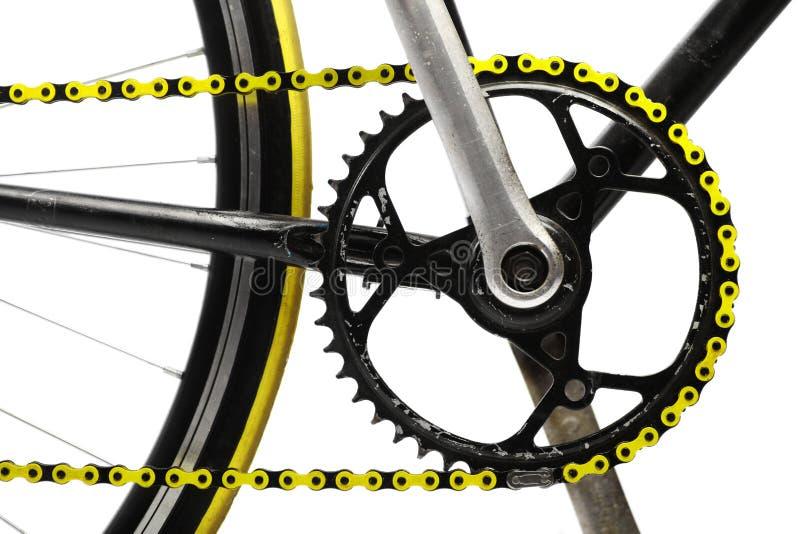 Желтая цепь велосипеда стоковое фото rf