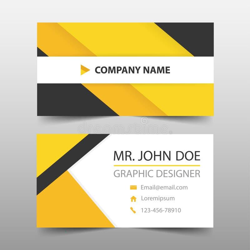 Желтая черная визитная карточка корпоративного бизнеса, шаблон карточки имени, horizo иллюстрация штока