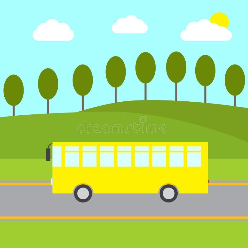 Желтая шина в сельском ландшафте бесплатная иллюстрация