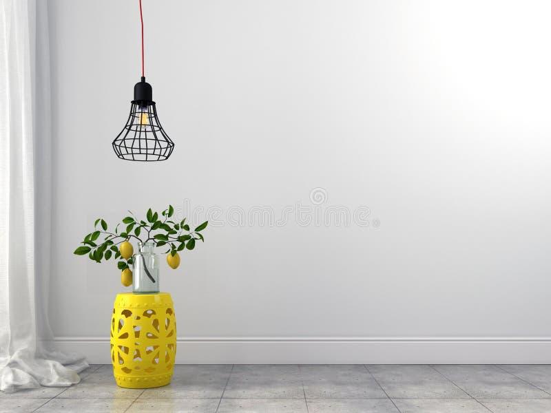 Желтая люстра табуретки и провода стоковые изображения rf