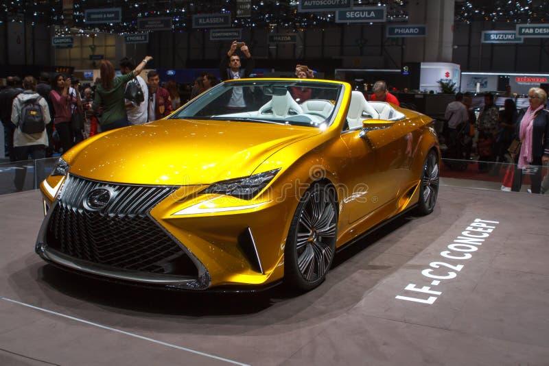 Желтое мотор-шоу 2015 Женевы концепции Lexus LF-C2 стоковое изображение
