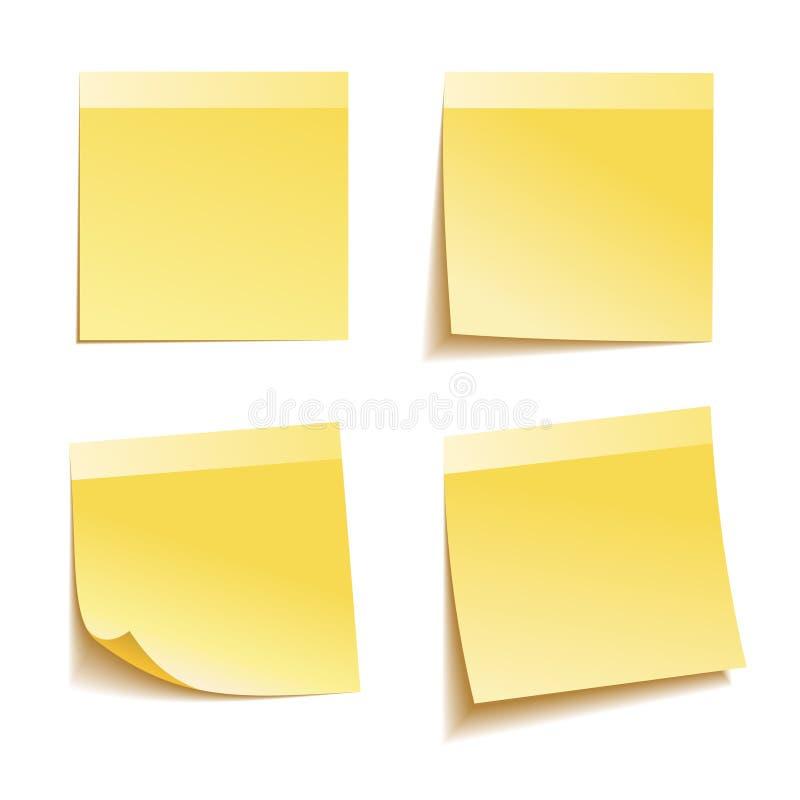 Желтое примечание ручки иллюстрация вектора