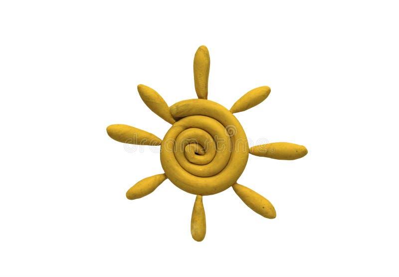 желтое солнце сделанное от пластилина детей яркого на белой предпосылке стоковая фотография rf