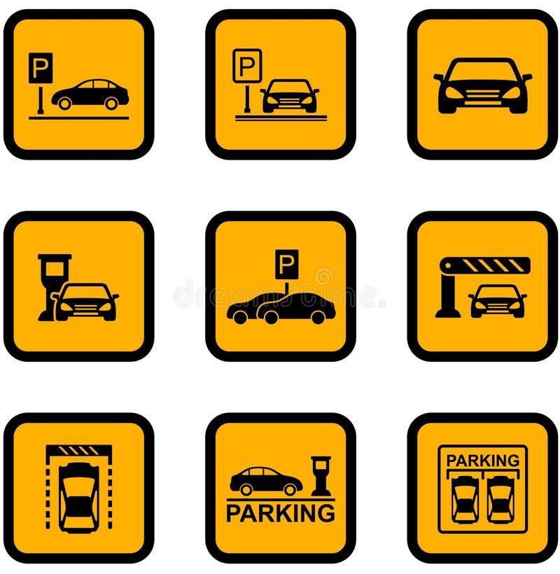 Желтые значки автостоянки автомобиля иллюстрация штока