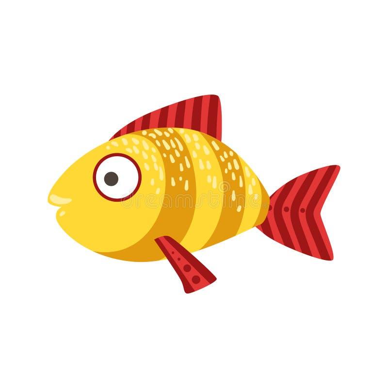 Желтые и красные Stripy фантастические красочные рыбы аквариума, животное тропического рифа акватическое иллюстрация штока
