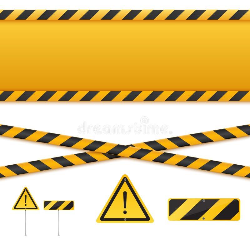 Желтые и черные ленты опасности Изолированные линии предосторежения также вектор иллюстрации притяжки corel бесплатная иллюстрация