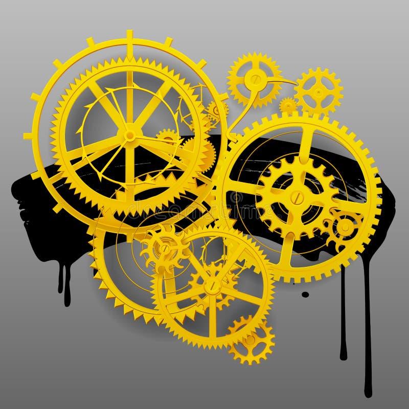 Желтые колеса шестерни clockwork с черной помаркой на сером цвете иллюстрация штока