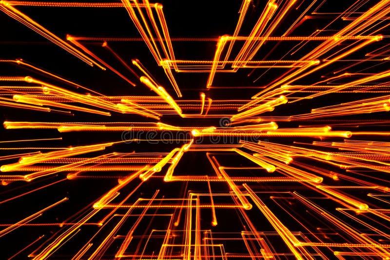 Желтые накаляя геометрические линии стоковое фото rf