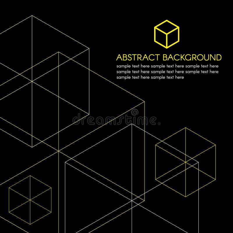 Желтые равновеликие логотип коробки и линия вектор на черной предпосылке бесплатная иллюстрация