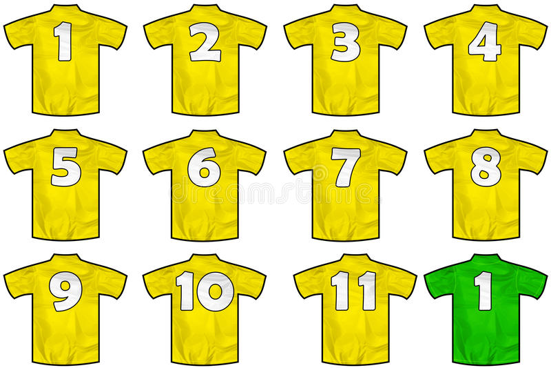 Желтые рубашки команды иллюстрация вектора