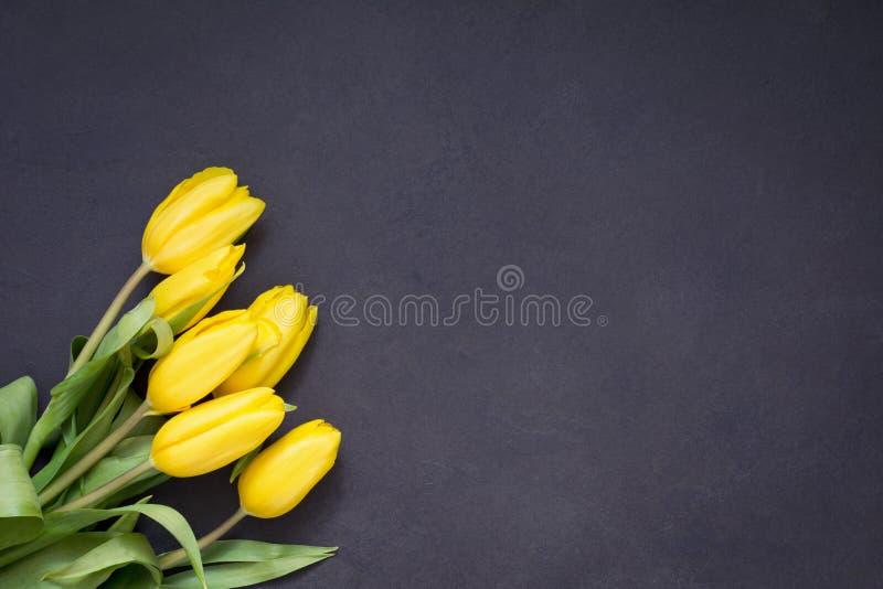 Желтые тюльпаны над серой каменной предпосылкой стоковое изображение