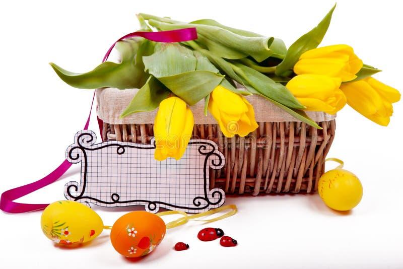 Желтые тюльпаны Пасха стоковые фотографии rf