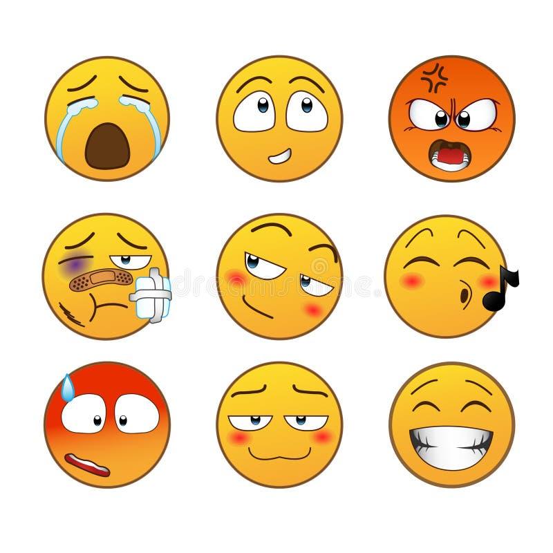 Желтые установленные эмоции стоковые изображения