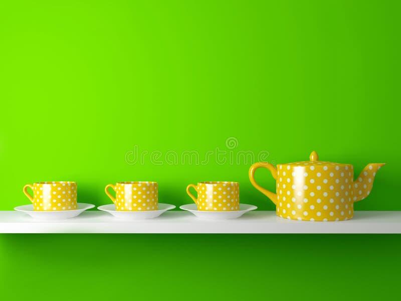 Желтые чайник и чашки иллюстрация вектора