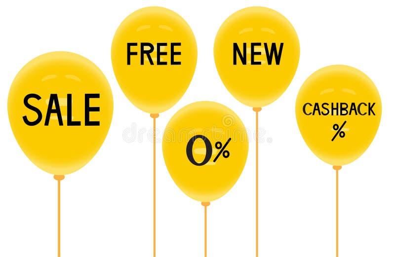 Желтые baloons и скидки, польза для рекламы, иллюстраций вектора иллюстрация штока