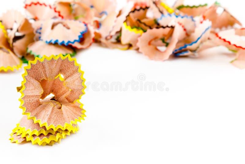 Желтые Shavings карандаша стоковые изображения