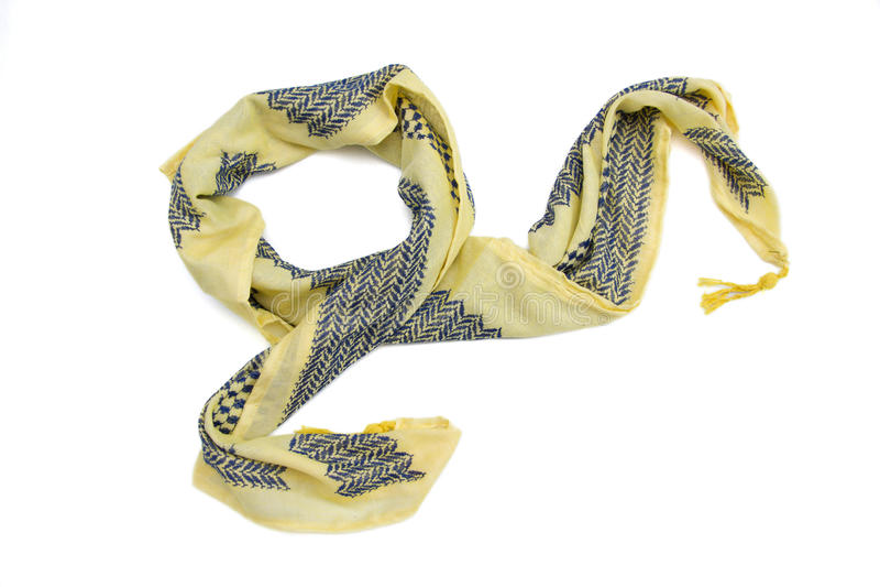 Желтый арабский шарф изолированный на белой предпосылке стоковые изображения