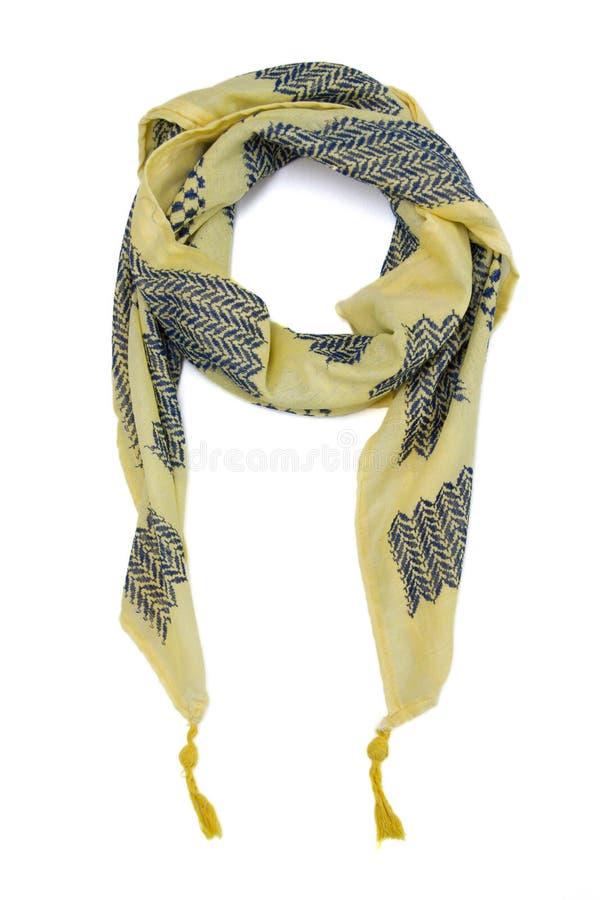 Желтый арабский шарф изолированный на белой предпосылке стоковое фото rf
