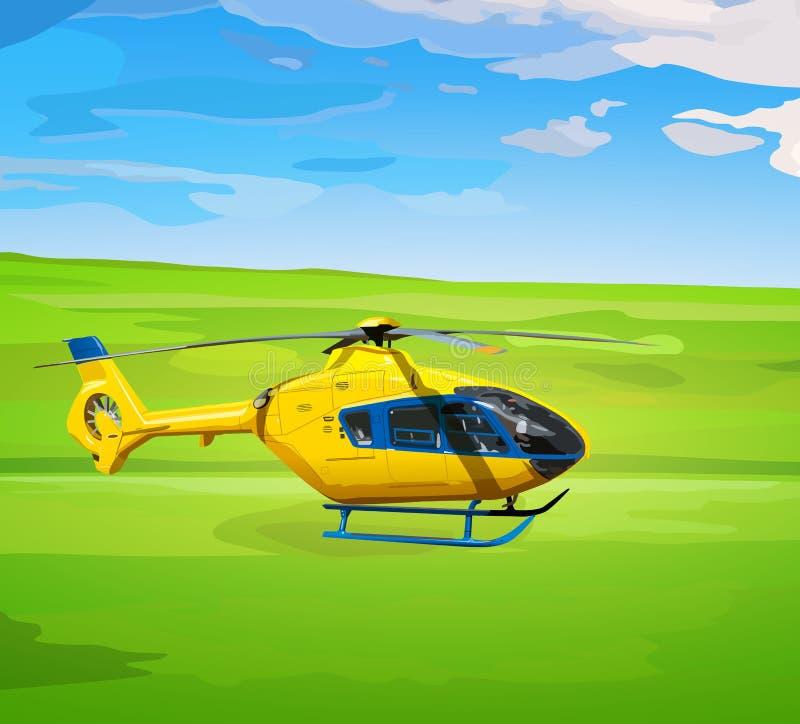 Желтый вертолет бесплатная иллюстрация