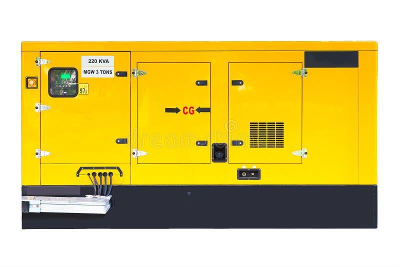 Желтый вспомогательный тепловозный генератор для непредвиденного электричества стоковое фото rf