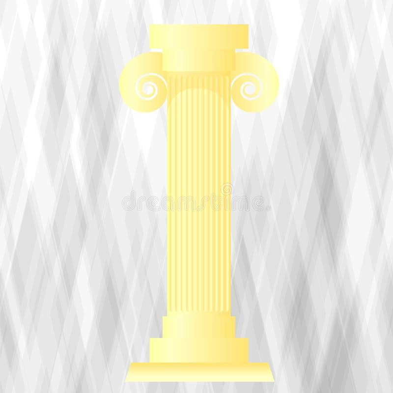 Желтый греческий столбец иллюстрация вектора