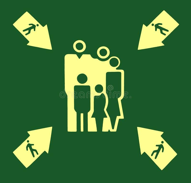 Желтый знак сборочного пункта на зеленом цвете иллюстрация вектора