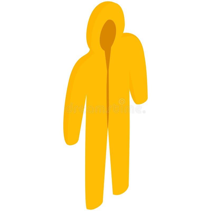 Желтый значок защитного костюма biohazard иллюстрация вектора