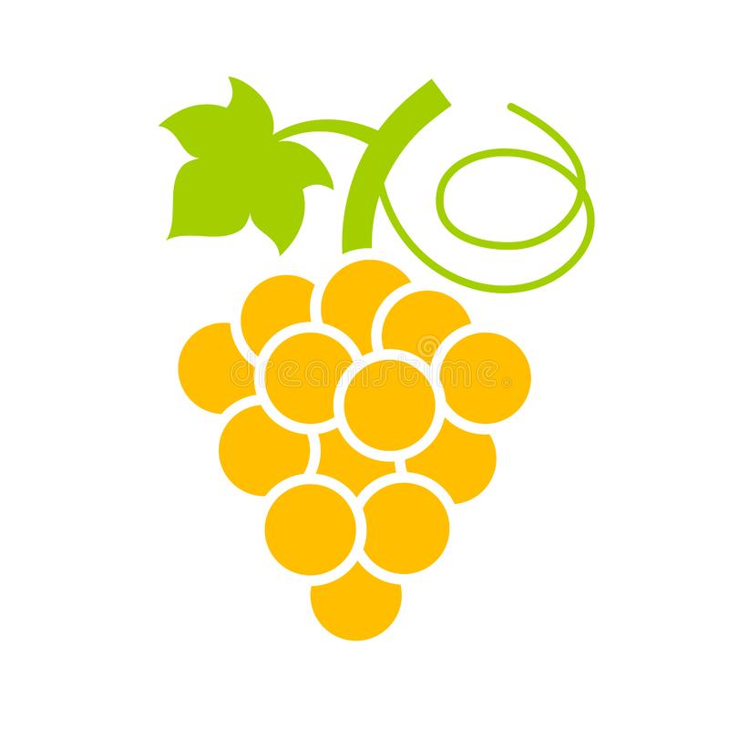 Желтый зрелый значок вектора виноградины бесплатная иллюстрация