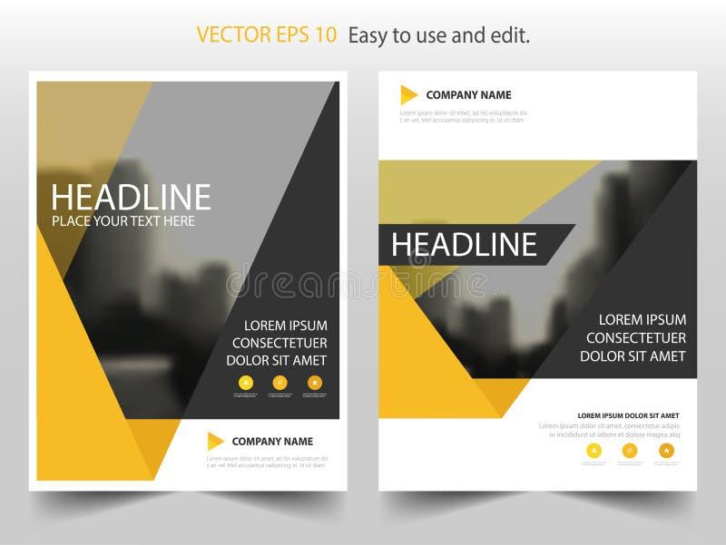 Желтый дизайн шаблона рогульки брошюры листовки годового отчета треугольника, дизайн плана обложки книги, абстрактное представлен иллюстрация штока