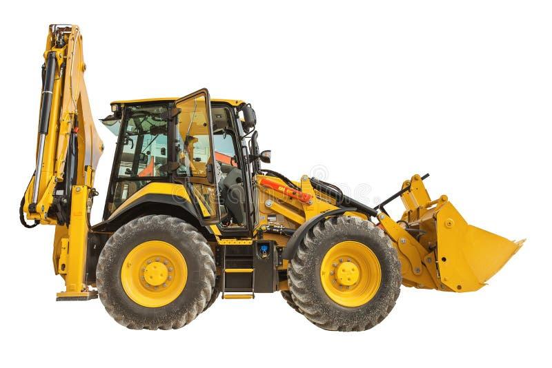 Желтый изолированный затяжелитель бульдозера или backhoe стоковая фотография rf