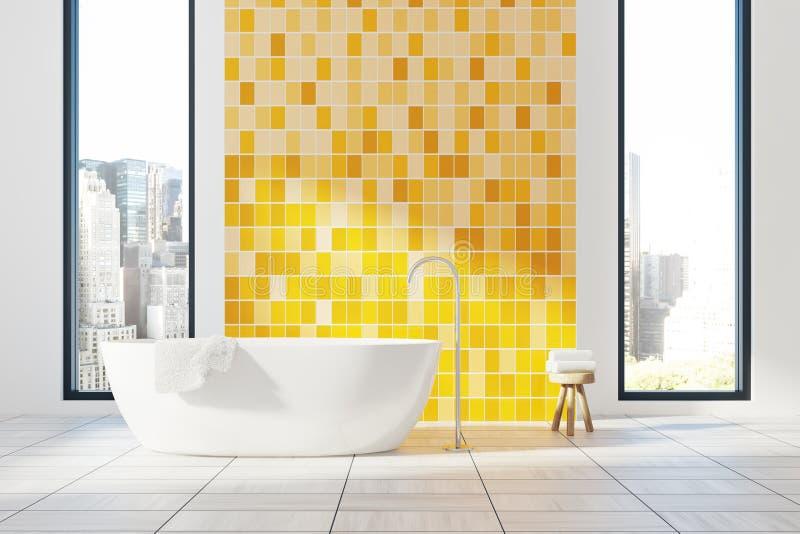 Желтый интерьер ванной комнаты, ушат бесплатная иллюстрация
