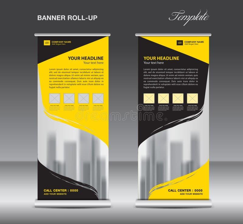 Желтый и черный сверните вверх вектор шаблона знамени, рогульку иллюстрация штока
