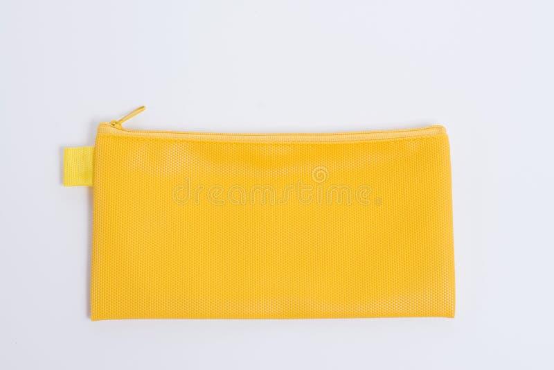 Желтый кожаный случай карандаша стоковые фото