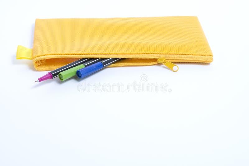 Желтый кожаный случай карандаша стоковое изображение rf