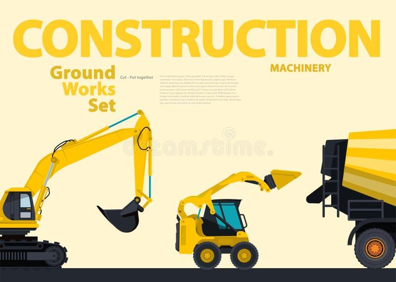 Желтый комплект каталога земли работает корабли Конструкция подвергает оборудование механической обработке иллюстрация вектора