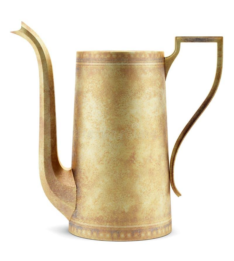 Желтый металлический чайник изолированный на белизне бесплатная иллюстрация