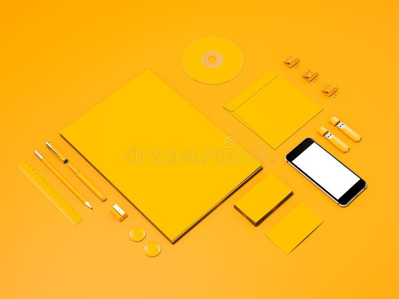 Желтый модель-макет фирменного стиля иллюстрация штока