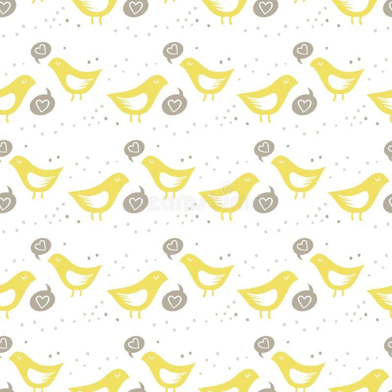Желтый петь птиц Пэт влюбленности цветастого безшовного иллюстрация штока