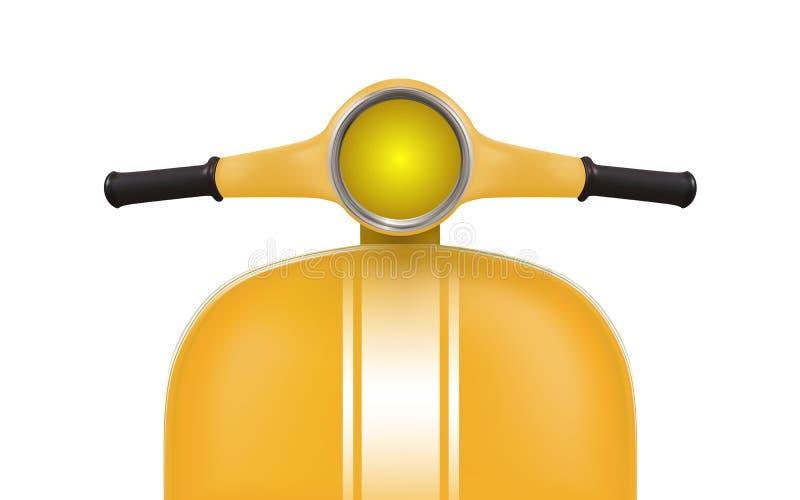 Желтый ретро самокат с белыми нашивками Вид спереди иллюстрация штока