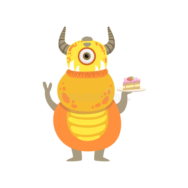Желтый дружелюбный изверг с рожками и тортом бесплатная иллюстрация
