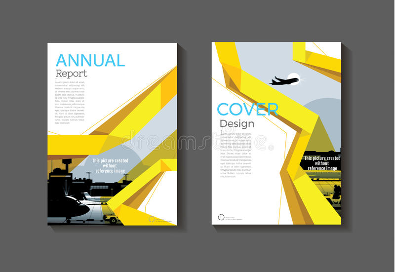 Желтый современный шаблон брошюры книги крышки, дизайн, ежегодный rep иллюстрация штока