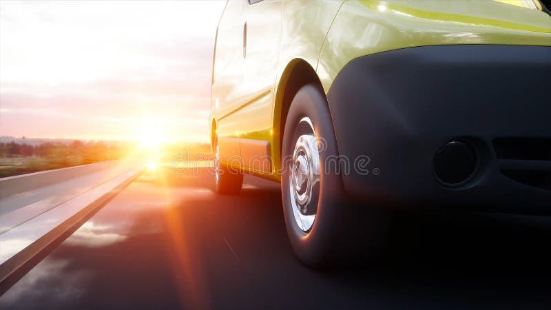 Желтый фургон поставки на шоссе Очень быстрый управлять Переход и логистическая концепция перевод 3d бесплатная иллюстрация