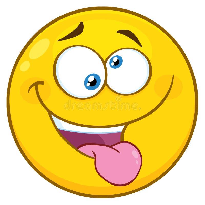 Желтый характер стороны Smiley шаржа с шальным выражением и выступая языком бесплатная иллюстрация